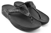 WOMENS FITFLOP SANDALS SHOES SIZE 8 US 39 EU BLACK SEQUIN THONG FLIP FLOP