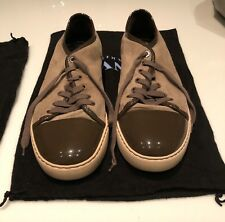 MENS LANVIN Tan Brown Suede With Patent Leather Low Top SNEAKERS  SZ 8 US