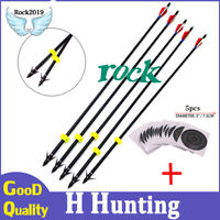 """5x 33"""" Long Bow Fishing 8mm Fiberglass Shaft Arrows for Compound/Recurve Bow"""