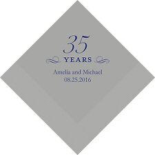 100 Printed 35th Anniversary Birthday Cocktail Napkins