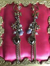 Betsey Johnson Vintage Ski Bunny Lavender Snowflake Mitten Glove Heart Earrings