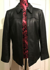Wilsons Women's Black Leather Jacket Thinsulate Insulation Removable Sz.L