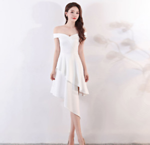 Womens 5 Color Short Banquet Dress one-shoulder Evening Party Sleeveless Casual