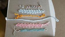 Crochet tatting bracelets handmade pink blue orange