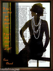 Art Print.On Original Antique Book page Coco Chanel  silhouette digital collage
