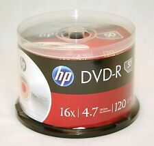 50PK HP 16X Logo DVD-R DVDR Blank Disc Media 4,7GB with Cake Box