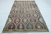 """Vintage Turkish Sardes Nomad Embroidered Kilim, Floor Wool Rug 69""""x104"""" Carpet"""