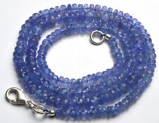 """94.80 CT 18"""" NATURAL GEM TANZANITE MICRO FACETED RONDELLE  BEADS 3.5 TO 5.5 MM"""