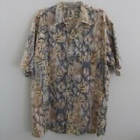 Tori Richard Mens Hawaiian Camp Shirt XL Brown Gray Cotton Lawn Short Sleeve
