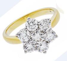 1.60ct Diamond Daisy Engagement Ring Brilliant Cut F VS set in 18ct Yellow Gold