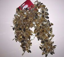 Nwt New Christmas Trim A Home 12 ft Tinsel Garland Gold Holly