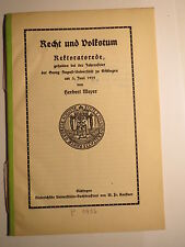 Universität Göttingen - 1929 - Rektoratsrede Herbert Meyer - Recht und Volkstum