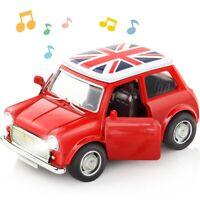MINI Cooper 1300 Car Flag Model Toys 1:36 Two Door Open Lights Alloy Diecast Red