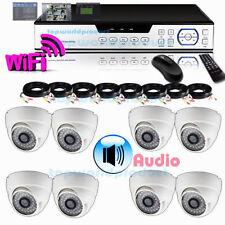 FULL 8CH D1 1TB DVR 8pcs 700TVL SONY CCD 48IR AUDIO Dome Camera CCTV System#Ss//