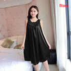 Women's Summer Lace Ice Silk Nightdress Sleeveless Loose Plus Size Nightgow N8A9