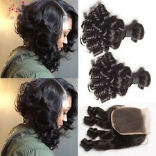 8A 300g/3bundles Unprocessed Aunty Funmi Bouncy Curl Human Hair & Closure