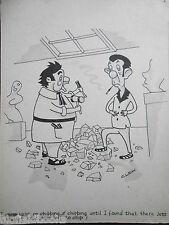 "CLIFFORD C LEWIS ""CLEW"" Original Pen & Ink Cartoon - Sculptor Carving #343"