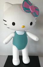 Hello Kitty Hard Plastic Moveable Arms Legs and Head 12 inch Tall Pink Blue Bow