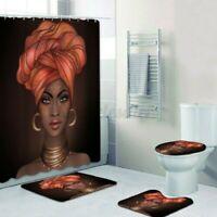 4Pc 1.8M Afrikanische Mädchen Duschvorhang mit Haken Bad Matte Teppich Wc Deckel