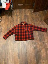Men's. J. Peterman Large Red Black Plaid Sport Coat Wool Mackinaw Buffalo Huntin
