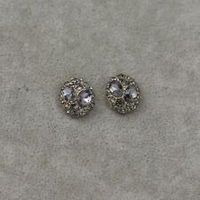 kennetch cole signed jewelry gold tone cut cyrstal vintage antique stud earrings