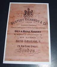 Westley Richards Gunmakers UN-FRAMED Gun Case Label repo Accessories Type 6