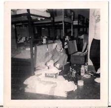 Hilarious Woman Sitting In Trunk Kotex Box USMC Women Marines Vtg 1950s Photo