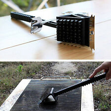 3 In 1 BBQ Brass Bristle Cleaner Brush Metal Scraper Oven Grill Stiff Brush Tool