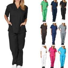 1 Pc Nursing Work Uniform Protective Clothing Nurse Pocket Solid V-neck Z7L5