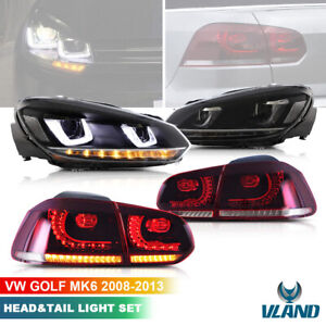 For VW Golf 6 MK6 GTD 2008-2013 LED Headlights & Rear Lights Front Tail Lamp