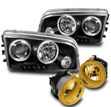 2006-09 DODGE CHARGER BLACK PROJECTOR HALO LED HEAD LIGHT+YELLOW BUMPER FOG LAMP