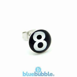Bluebubble Boys Mens LUCKY STREAK 8 Ball Single Earring Novelty Funky Fun Game