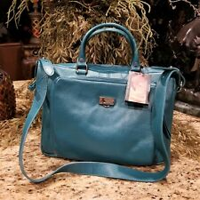 NWT Bodhi Convertible Laptop Satchel Tote Bag Teal Green Pebble Leather $248