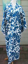 Vintage Cobalt Roses Japanese Cotton Yukata Kimono Summer Swim Robe One Size