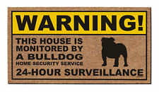New Home Gifts Warning Bulldog 24-Hour Surveillance Funny Pet Home Decor Doormat