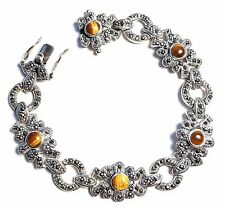 TIGERS EYE Stones Chunky BRACELET & Marcasite .925 STERLING SILVER (7.5-in)
