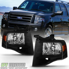 Black 2007-2014 Ford Expedition Headlights Lights Left+Right 07 08 09 10 11-14