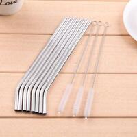 Reusable Drinking Straws Cleaner Brush Set Stainless Steel Straws Party Home