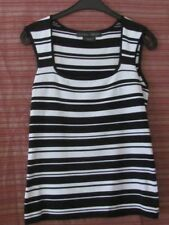 LAURA ASHLEY Size M Black and White Striped Stretch Top, Sleeveless