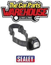 Lámpara de Cabeza Negro SEALEY COB LED luz linterna antorcha ligera Clip en HT01