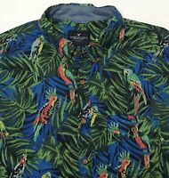 American Eagle Outfitters Hawaiian Camp Shirt Parrot Jungle Aloha Mens L Large