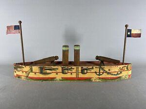 Antique Paper Litho US Battleship TEXAS