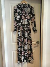 ASOS Size 6 long sleeves black/pink and white floral maxi dress