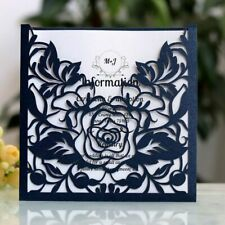 Lace Laser Cuts Pocket Wedding Invitation Folded Cards Square Rose Flower Design
