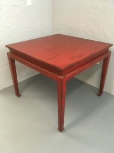 """Bausman Furniture Co. distressed Red Finish 36"""" Square Dining or Game Table"""
