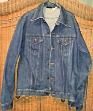 VTG 70s LG SEARS ROEBUCKS jean jacket DENIM TRUCKER'S COAT, metal buttons
