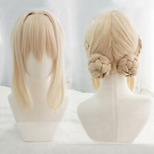 Violet Evergarden Short Blonde Braid Hair With Two Buns Cosplay Hair Wig + Cap