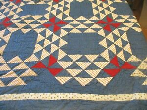 """Vintage Handmade Quilt Red White Blue Triangles Patchwork 80"""" X 80"""""""