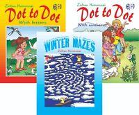 lot 3 pcs - Dot to Dot + Winter Mazes Activity Coloring Puzzles Kids 4-10 Maze