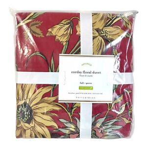 Pottery Barn Corday Floral Full/Queen Duvet Cover Organic Cotton Discontinued